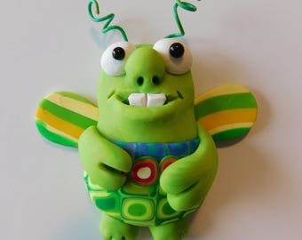 OOAK Refrigerator Magnet, Polymer Clay, Cute Little Bug, Kitchen Decor, Cute insect , Bug sculpture, Handmade
