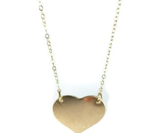 Heart Necklace, Large Heart Necklace, Dainty Necklace, Gold Filled Necklace, Simple Necklace
