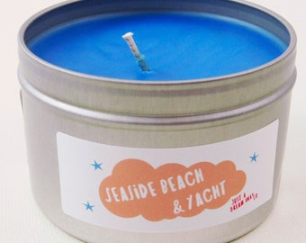 Seaside Yacht & Beach 8 oz Tin Disney Inspired Candle - Just A Dream Away Co. - Soy or Soy Blend Wax - Clover and Aloe - Boardwalk Club