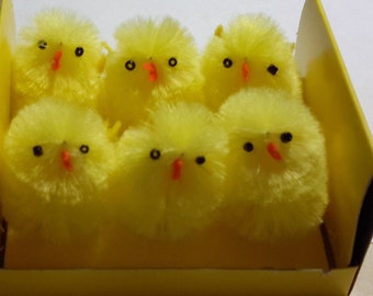 9 chenille chicks FUZZY YELLOW peeps