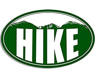 Oval HIKE Colorado Mountains Sticker (hiking decal)