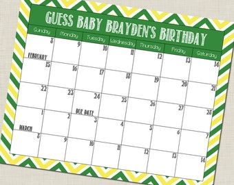 CUSTOM Guess Baby's Birthday Calendar Baby Shower Game (Choose your own colors!)