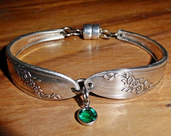 Queen Bess 1946, spoon bracelet, birthstone, free shipping and gift box, Mother's day gift, ready to ship