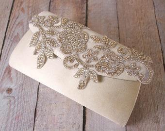 Champagne Handbag, Wedding Handbag, Bridal Purse, Bridal Accessories, Crystal Handbag, Beaded Handbag, Custom Wedding Accessories