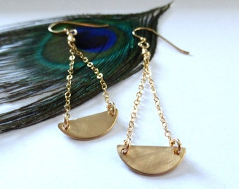 Gold Half Moon Earrings, Hammered Gold Half Moon, Modern Everyday Earrings, Geometric Earrings, Half Moon Earrings, M Frances Jewelry