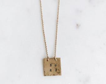 14k Gold Filled Square Surf Necklace