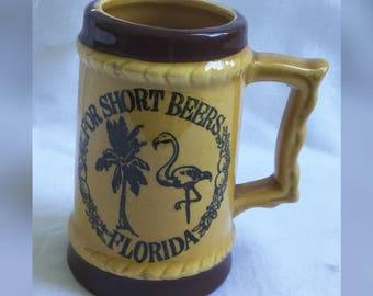 Mini Beer Stein, Small Ceramic Mug, Short Beer Stein