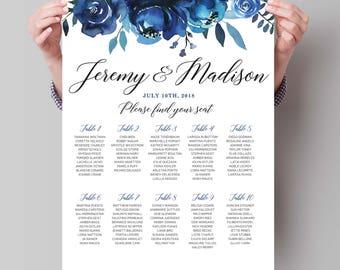 PRINTABLE Wedding Seating Chart  printable wedding seating chart, seating arrangements, Personalized seating table plan, Indigo and Navy