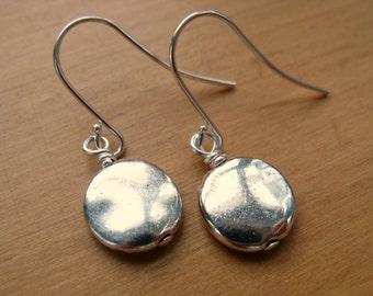 Silver Drop Earrings, Silver Dangle Earrings, Silver Coin Earrings, Delicate Earrings