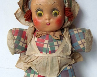 Vintage 1930s 1940s Soft cloth stuffed doll with cloth painted Face