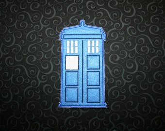 Doctor Who TARDIS Felt Patch, Iron On Sew On Felt Tardis Patch