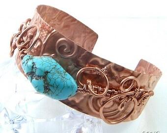 Bracelet Cesair - cuivre naturel et nuggets en turquoise