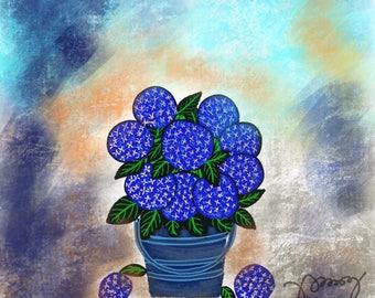 Blue Hydreangeas.
