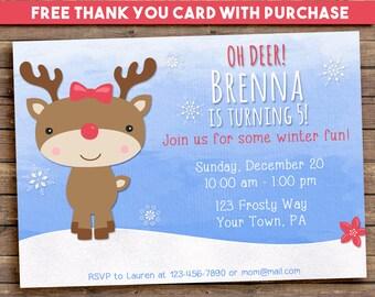 Reindeer birthday party invitation, christmas birthday party invitation