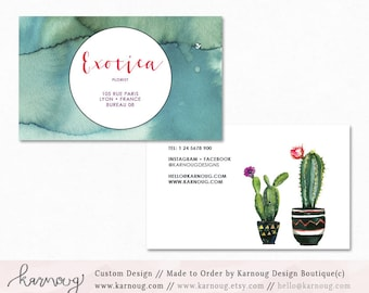 Cactus Business Card Design Watercolor Business Cards Custom Business Cards Printable Business Cards Gold Printable Cards