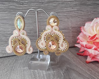 Pink and beige soutache earrings, drop earrings, party earrings, boho jewelry, capri earrings, paparazzi earrings, fashion earrings, gift