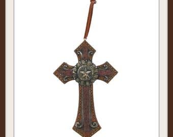 Brown Rustic Cross Star Emblem