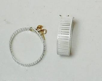 White Earrings, Hoop, Metal, Cut Out, Wide, Hippie Jewelry, Boho Earrings, Never Worn, Vintage Costume Jewelry