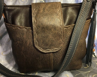Brown repurposed upcycled leather bag purse two toned flap