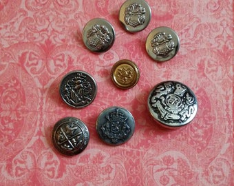 Variety of vintage metal buttons.