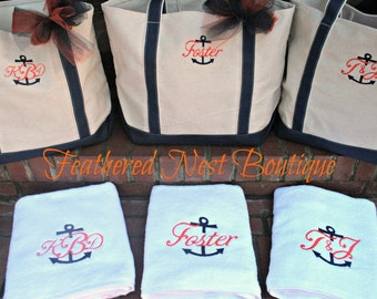 Anchor Monogram Towel - Anchor Monogrammed Towel - Monogram Towel - Monogrammed Towel - Wedding gift - Bridesmaids gift - Housewarming