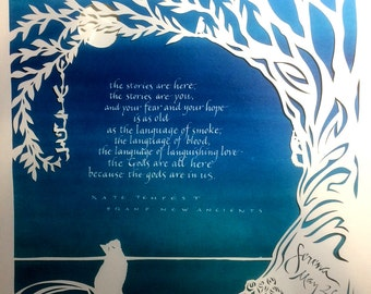 Cat and Moon - The stories are you - papercut and hand lettering on colorful background