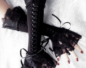 Cities in Soot Corset Arm Warmers Laced Up | Black Ribbon & Ruffled Lace | Steampunk Gloves Victorian Bridal Pirate Dark Rococo Gothic Goth
