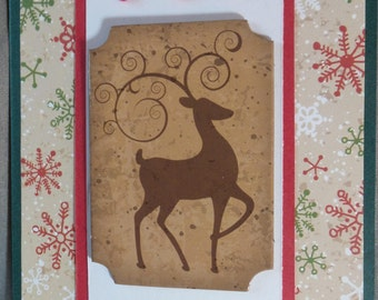 Handmade Christmas card with reindeer