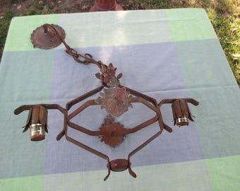 Antique cast iron chandelier painted