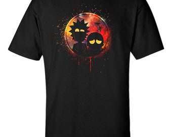 Rick and Morty T-Shirt Cartoon Comic Funny Gift Psychedelic Dimension Unisex Black Men Tee S-XXL