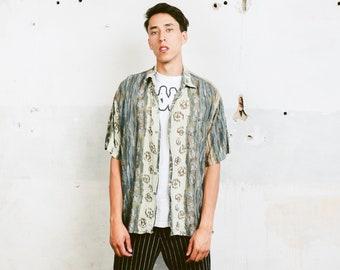 Vintage 90s Men Shirt . Men's Short Sleeve Abstract Print Shirt Patterned 90s Shirt Vacation Shirt Boyfriend Gift . size Large L