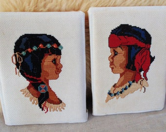 Native American Indian BOY GIRL child children finished embroidery pair embroidered