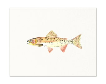 Watercolor Trout Art Print. Cutthroat Trout Painting. Realistic Fish Wall Art. Cottage Decor. Fisherman Gift. Dad Office Art. Angler Gift.