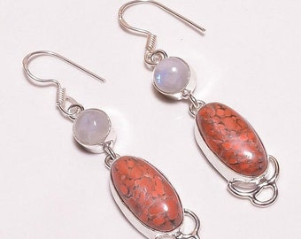 Red Howlite & Moonstone Silver Plated/Overlay Earrings  Jewelry