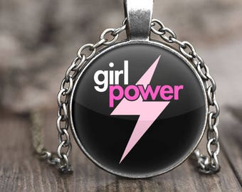 Girl Power Necklace, feminist necklace for girls, necklace with pendant, necklace and pendant for girls, gift for feminist jewelry, silver