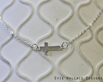 Small Cross Necklace / Horizontal Cross / Sterling Silver / Dainty Necklace / On the Side Cross / Shiny Silver / Cross Choker