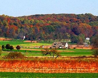 Scenic Pennsylvania Amish Autumn Landscape 12x18 Limited Edition Print