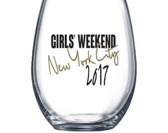 Girls Weekend Wine Glass or Plastic Tumbler DECALS - diy Cup Stickers- GLITTER available! Cup NOT included.