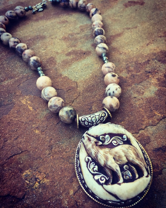 Graphic Feldspar with Wolf Boho Statement Necklace and Earring Set
