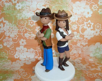 Customized Western Theme Wedding Cake Topper