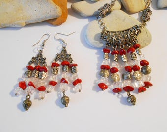 Red Stone Chandelier Pendant Jewelry Set Long Red Stone & Quartz Boho Neckace and Chandelier Earrings Valentines Day Gift Christmas Jewelry