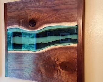 Black Walnut Live Edge River Wood and Blue Glass Wall Art
