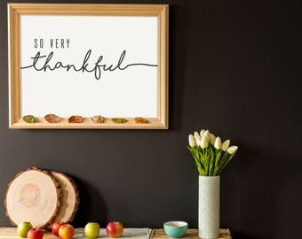 Thankful- Modern Thanksgiving Decor Print