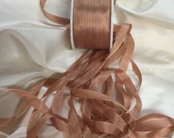 7mm Copper silk ribbon 5 yards Color #521