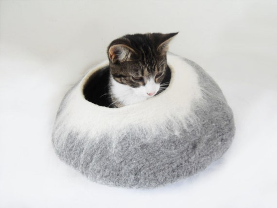 Cat Bed / Pet Bed / Cave Cocoon / Cat House in grey and white with Free Cat Ball