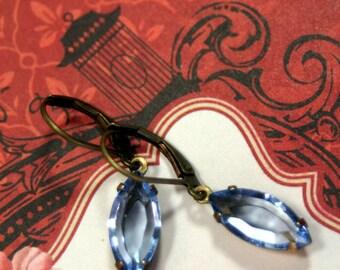Cloudless Summer Blue Skies Vintage Rhinestone Earrings Light Sapphire