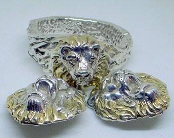 Vintage Sterling Lion Bracelet AND Big Earrings. Signed - Lion Clip Back Earrings - Lion Set - 14k Gold Mane - August Leo -  6.5 Wrist