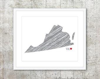 State of Virginia Art Print - Custom State Love Poster - Slate Grey Red Heart - Modern Wall Art