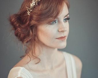 Gold leaf tiara - Laurel leaf flower crown - Bridal tiara - Bridal leaf crown - Bridal headpiece - Greek goddess hair accessory