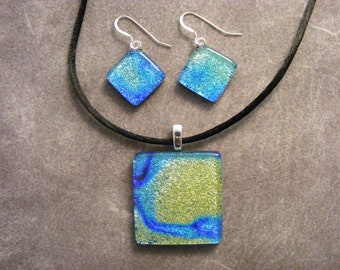 Crinkle Dichroic Starry Night Pendant & Earring Set